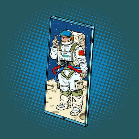 cosmonaut speaker lecturer on a conference call via a mobile phone screen. Online education