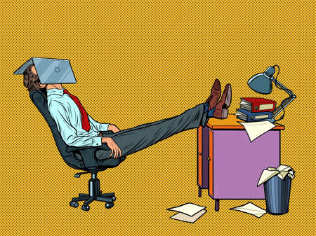 Office worker Manager resting in a work chair. Fatigue Illustration