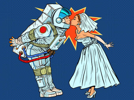 The astronaut groom and the bride kiss