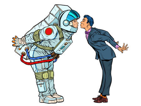 Astronaut woman or man prepared for a kiss with the groom