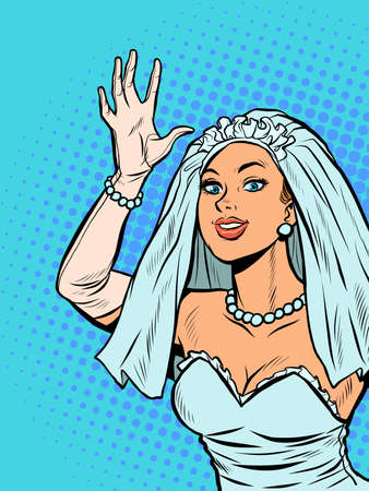 The bride joyfully welcomes, happiness on the wedding day Ilustração