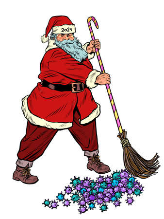Santa Claus sweeps out the coronavirus epidemic. Vaccine and medications Illustration