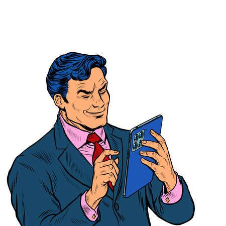Stylish businessman looks at a modern gadget tablet, works with a touchscreen Illustration