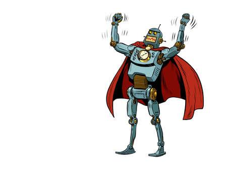 Robot superhero in a heroic pose Ilustração