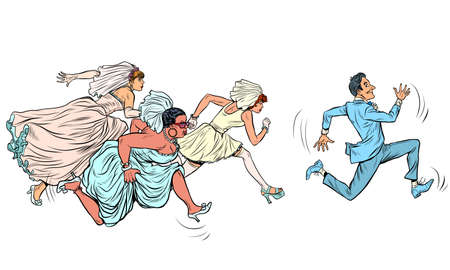 the groom comically runs away from several brides. Polygyny