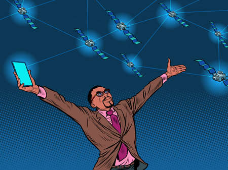 Black businessman and global satellite Internet Ilustracja