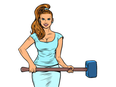 Beautiful strong woman with a hammer. Feminism Ilustracja