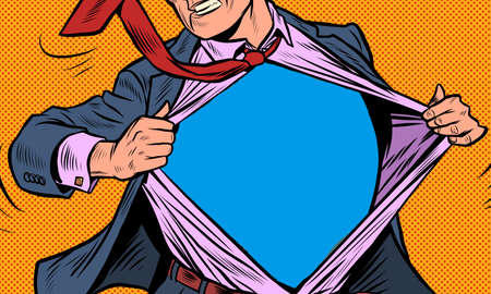 Superhero businessman tearing the suit Ilustracja