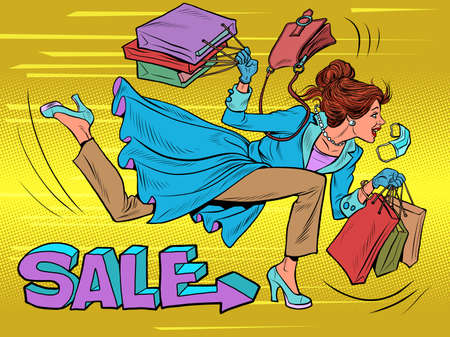 A woman runs to a sale. Discounts in the store Ilustracja