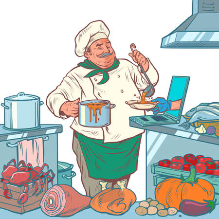 male chef prepares food, online delivery