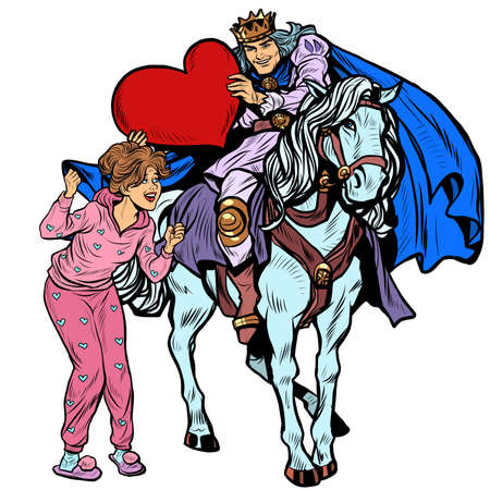 Valentines Day. A prince in love on a white horse galloped to a beautiful woman