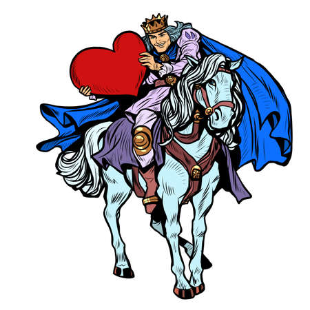 Valentines Day. A prince in love on a white horse with a red heart