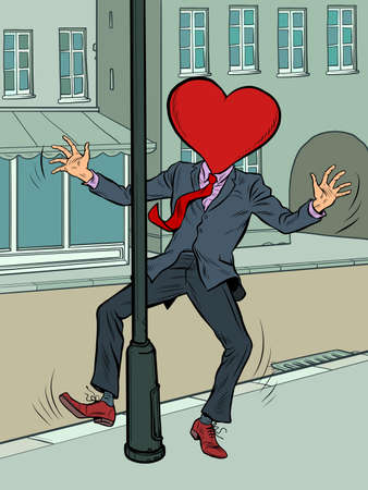A man in love almost crashed into a pole Ilustracja