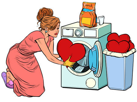 Beautiful woman washes a red heart. Valentines day