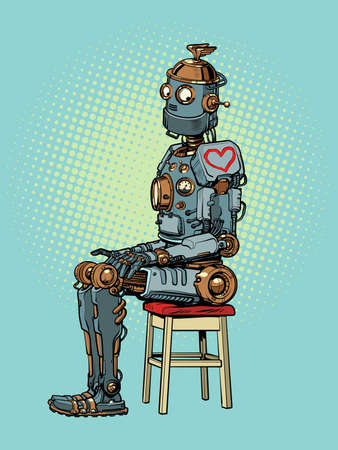 A robot in love. heart on valentines day