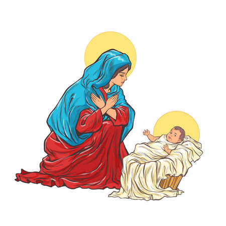 saint Mary mother of jesus Ilustracja