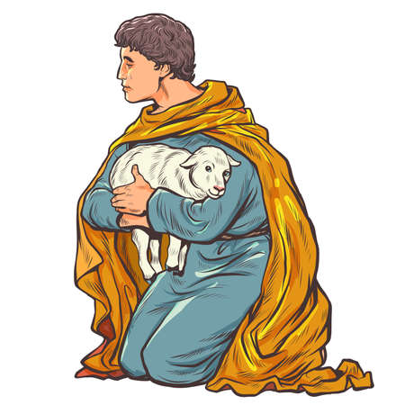 shepherd with a lamb, a biblical story Ilustracja