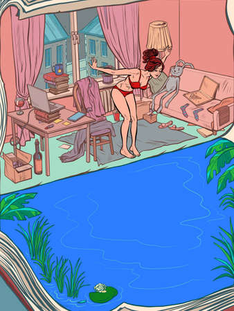 Young woman bathing at home in the pool. Home quarantine and sea holidays Ilustracja