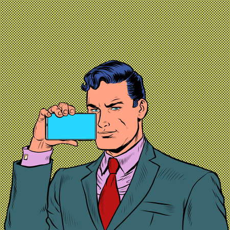 businessman streams on a smartphone Ilustracja