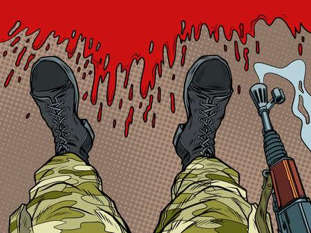 soldier machine gun feet shoes profession Ilustracja