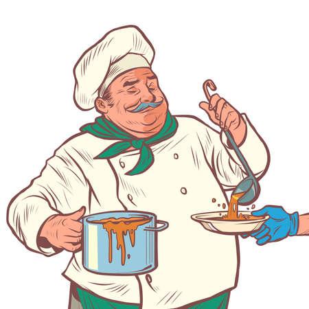 a male chef prepares delicious food Illustration