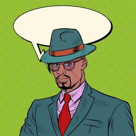 elegant retro african businessman Stylish man in a suit and hat Illustration