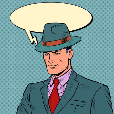 elegant retro businessman Stylish man in a suit and hat