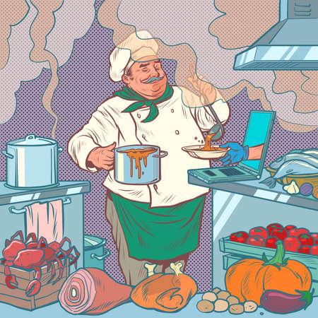 male chef prepares food, online delivery Pop art retro illustration