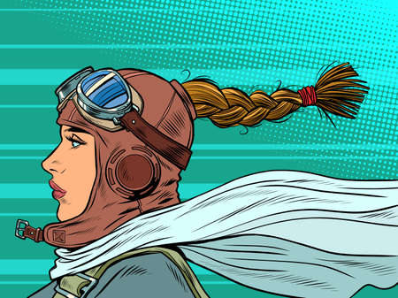 retro female pilot with scarf. military aviation. a girl at war