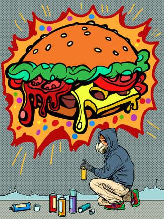 a teenage boy draws a graffiti image of a burger. fast food