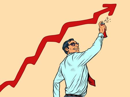 businessman draws graffiti sales growth graph. Street art Illustration