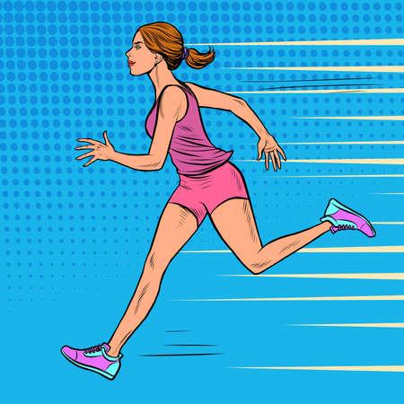 White woman athlete runs. Sports and health. Marathon run