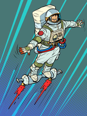 an autronaut on a space jet hoverboard. Science fiction Illustration