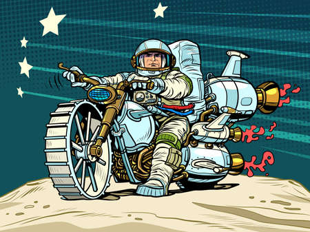 Astronaut biker on a space motorcycle. Science fiction. Transport of the future