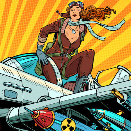 Pin-up military pilot. Beautiful woman in uniform on a plane with bombs and heavy weapons Illustration