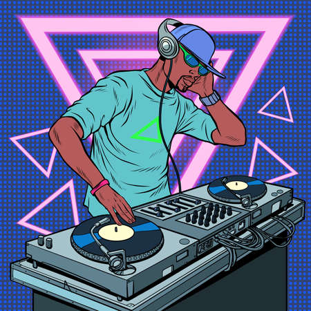 Black man dj on vinyl turntables. concert music performance neon retro style