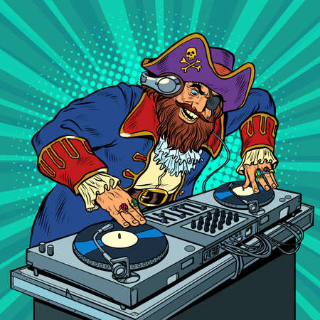 Pirate Music concept dj on vinyl turntables. concert music performance Illustration