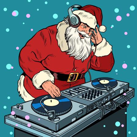Santa Claus Christmas dj on vinyl turntables. concert music performance