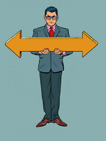 Businessman man with arrow pointers, direction to the right or to the left Illustration