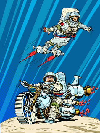 Astronauts on space transport. Flying and riding a motorcycle of the future Illustration