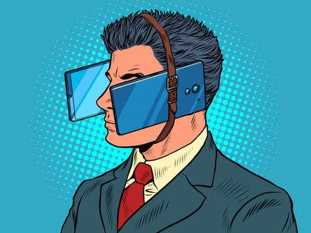 virtual reality A male businessman is passionate about smartphones
