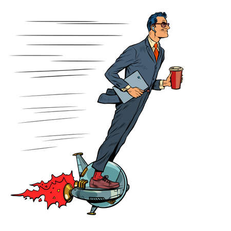 A futuristic businessman rides an electric unicycle, a man drinks morning coffee. Isolate on a white background Иллюстрация