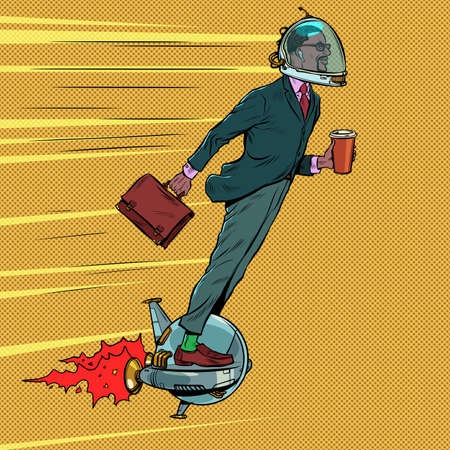 Futuristic black businessman astronaut is flying on an electric unicycle, a man is drinking morning coffee