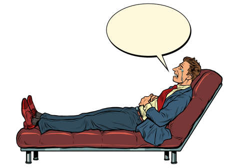 The patient is a male businessman at a psychotherapy session, lying on the couch Иллюстрация