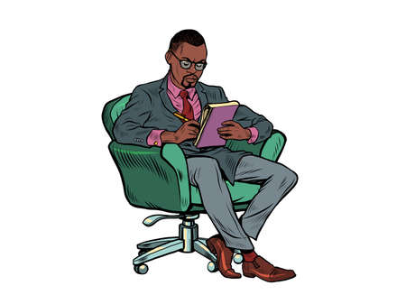 A black male psychotherapist is in a psychotherapy session, sitting in a chair and making notes in a notebook Иллюстрация