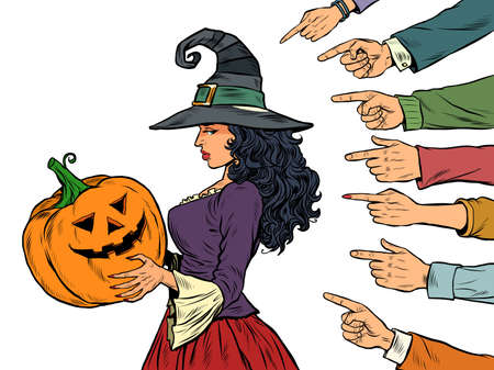 witch woman with pumpkin halloween, seasonal holiday, shame shaming bullying theme. Isolate on a white background