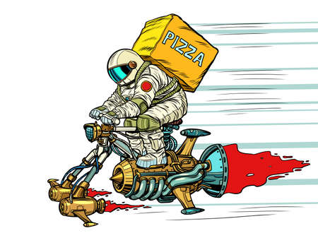 An astronaut courier delivers pizza to the spacecraft. Food Science