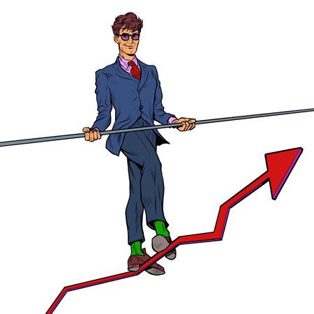 Businessman and sales growth charts. A man like an acrobat. Economics and Finance Иллюстрация