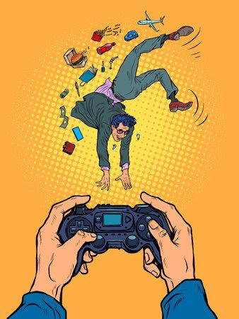 Businessman acrobat somersaults. Photo for memory Pop Art Retro