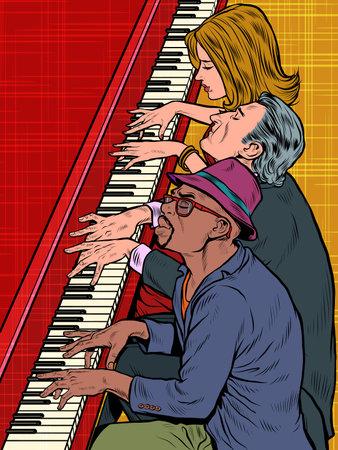 Several musicians play the same piano. Music isprovization jazz classics